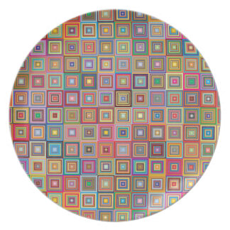 Prato Teste padrão geométrico retro do azulejo