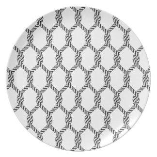 Prato Teste padrão náutico preto e branco da corda