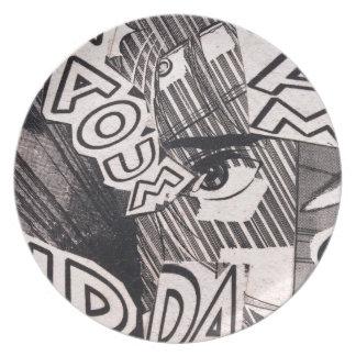 Prato Teste padrão preto e branco da história em