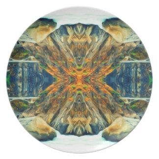 Prato Teste padrão psicadélico da pintura da cordilheira