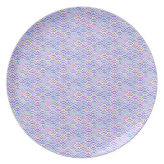 Prato Teste padrão roxo do Pastel da sereia do arco-íris