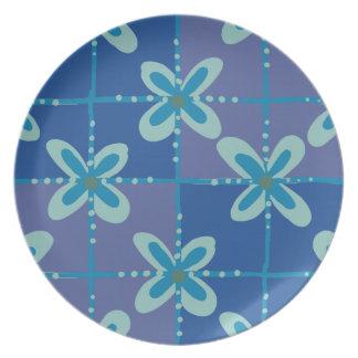 Prato Teste padrão sem emenda do batik floral azul da