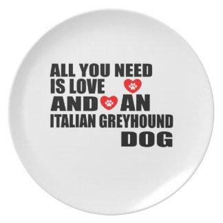 Prato Tudo você precisa o design dos cães do GALGO