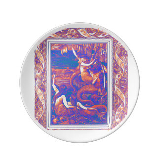 Prato Um bando das sereias em uma placa da porcelana