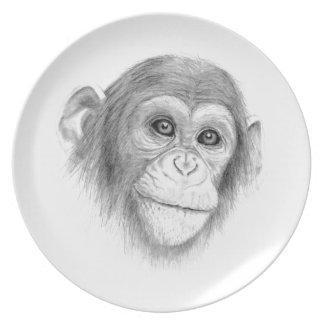 Prato Um chimpanzé, não monkeying ao redor o esboço