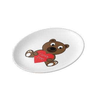Prato Urso de Brown bonito customizável com coração eu