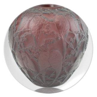 Prato Vaso de vidro do pássaro do art deco vermelho