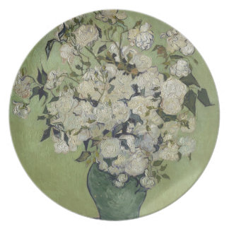 Prato Vaso de Vincent van Gogh dos rosas que pintam a