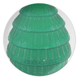 Prato Vaso verde do vidro da arte