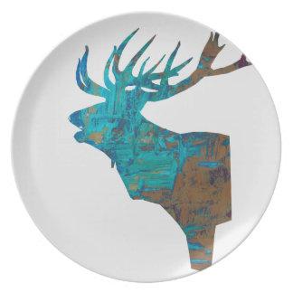 Prato veado principal dos cervos nos turquois