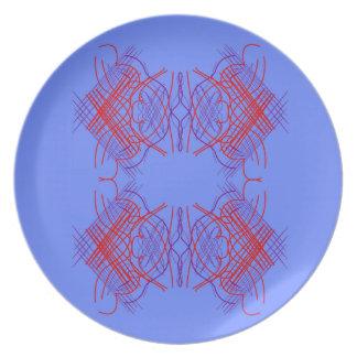 Prato Vermelho azul da mandala do design