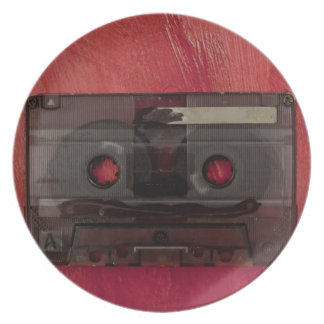 Prato Vermelho do vintage da música da cassete de banda