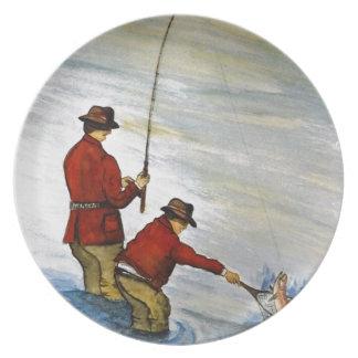 Prato Viagem de pesca do pai e do filho