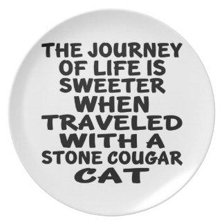 Prato Viajado com o gato de pedra do puma