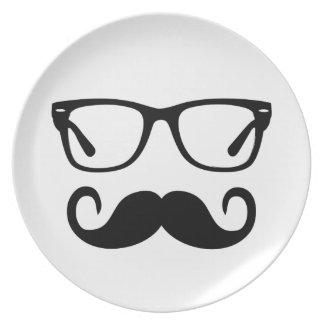 Prato Vidros do hipster & bigode do guiador