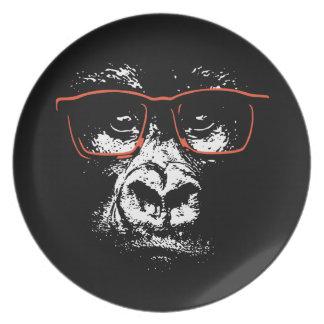 Prato Vidros do vermelho do gorila