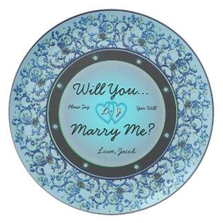 Prato Você casar-me-á placa