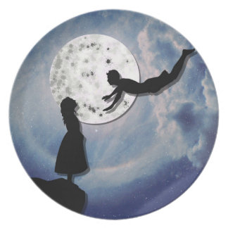 Prato voe-me ao universo do corte do papel da lua