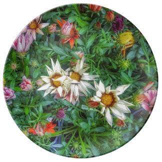 Prato Wildflower em uma placa da porcelana