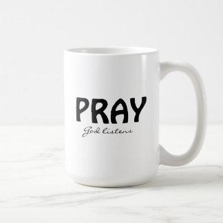 Pray a caneca branca clássica