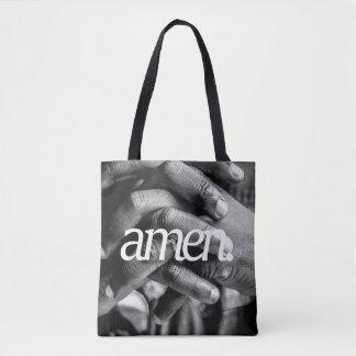 pray. Impressão lateral do design 2 religiosos Bolsas Tote