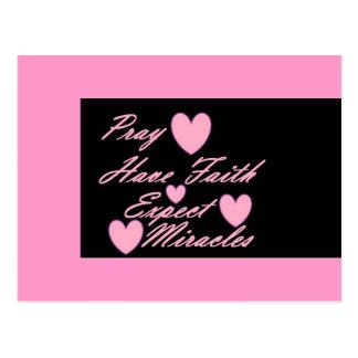 Pray manda a fé esperar o cartão dos corações dos