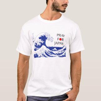 Pray para Japão Hokusai Camiseta