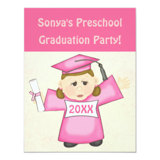 Pré-escolar das meninas/festa de formatura do convite personalizado