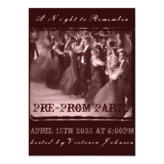 Pre-partido da dança da escola do convite de convite 11.30 x 15.87cm