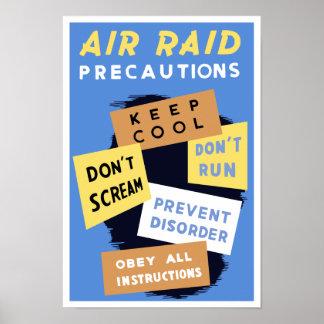 Precauções da ataque aérea repentina -- WWII Poster
