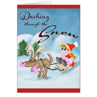 Cartão Precipitação através do cartão de Natal da neve