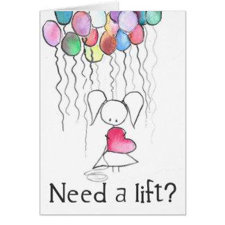 Precise um cartão do incentivo da menina do balão