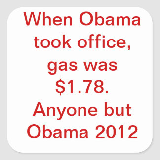 Preço de gás de Obama Adesivo Em Forma Quadrada