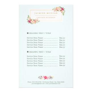 Preço floral da aguarela Pastel chique elegante Flyer 13.97 X 21.59cm