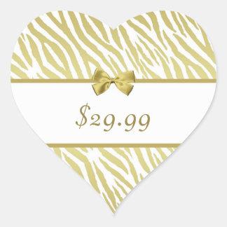 Preço glamoroso do impressão da zebra do branco e adesivo coração