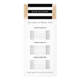 Preço listrado preto e branco do Sequin do ouro do 10.16 X 22.86cm Panfleto