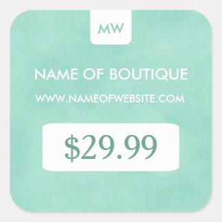 Preços chiques do monograma do boutique da hortelã adesivo quadrado