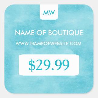 Preços chiques do monograma do boutique do Aqua Adesivo Quadrado