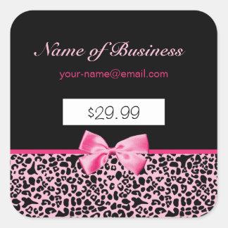 Preços cor-de-rosa e pretos na moda do rosa quente adesivo quadrado