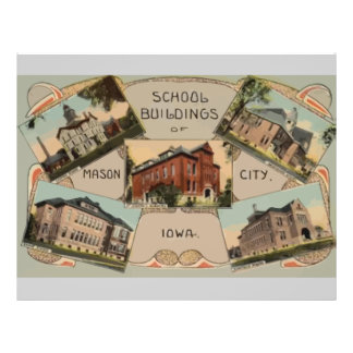 Prédios da escola de Mason City Iowa, vintage Modelos De Panfleto