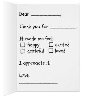 Preencha os cartões de agradecimentos vazios da