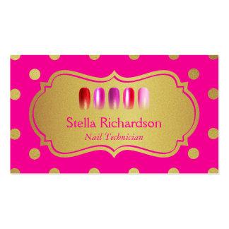 Pregue bolinhas cor-de-rosa na moda do ouro do cartão de visita
