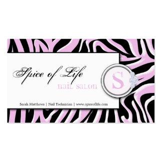 Pregue o cartão de visita cor-de-rosa do monograma