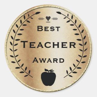 Prêmio do professor do ouro e da grinalda preta do adesivo redondo