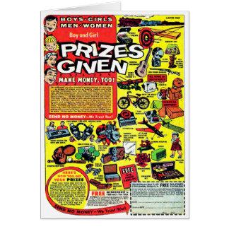 Prêmios retros do anúncio da banda desenhada do cartão comemorativo