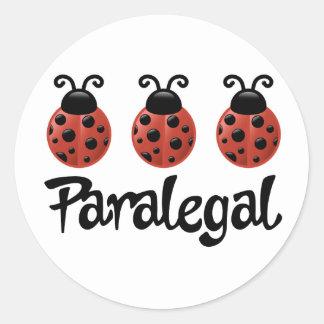 Presente bonito do Paralegal do joaninha Adesivo Em Formato Redondo