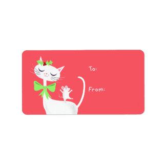 Presente branco do gato e do rato etiqueta de endereço