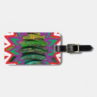 Presente colorido feliz do design gráfico da etiqueta de bagagem