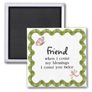 Presente das bênçãos da amizade da borboleta da lu ímã quadrado