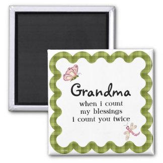 Presente das bênçãos da avó da borboleta da luz do ímã quadrado